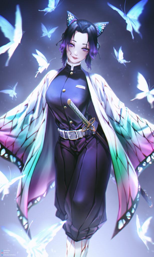 鬼滅の刃】外国人が描いた胡蝶しのぶのイラストのクオリティが高